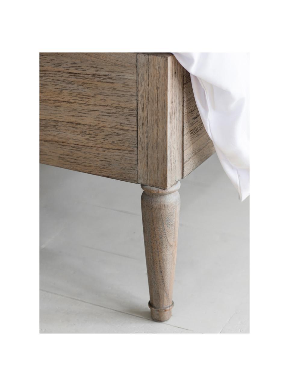Holzbett Mustique mit verziertem Kopfteil, Korpus: Eschenholz, Eschenholz, 180 x 200 cm