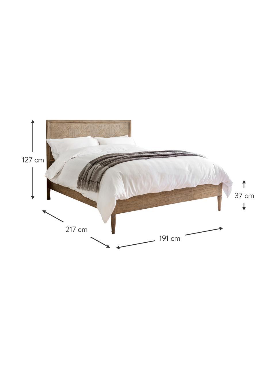 Łóżko z drewna z ozdobnym zagłówkiem Mustique, Korpus: drewno jesionowe, Drewno jesionowe, S 180 x D 200 cm