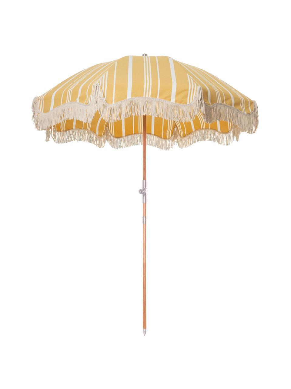Gestreifter Sonnenschirm Retro mit Fransen in Gelb-Weiß, abknickbar, Gestell: Holz, laminiert, Fransen: Baumwolle, Gelb, Gebrochenes Weiß, Ø 180 x H 230 cm