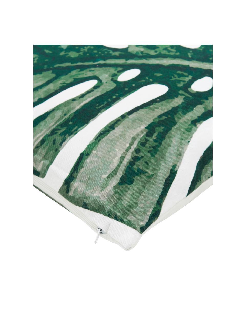 Federa arredo con stampa monstera Tropics, 100% cotone, Verde, bianco, Larg. 40 x Lung. 40 cm