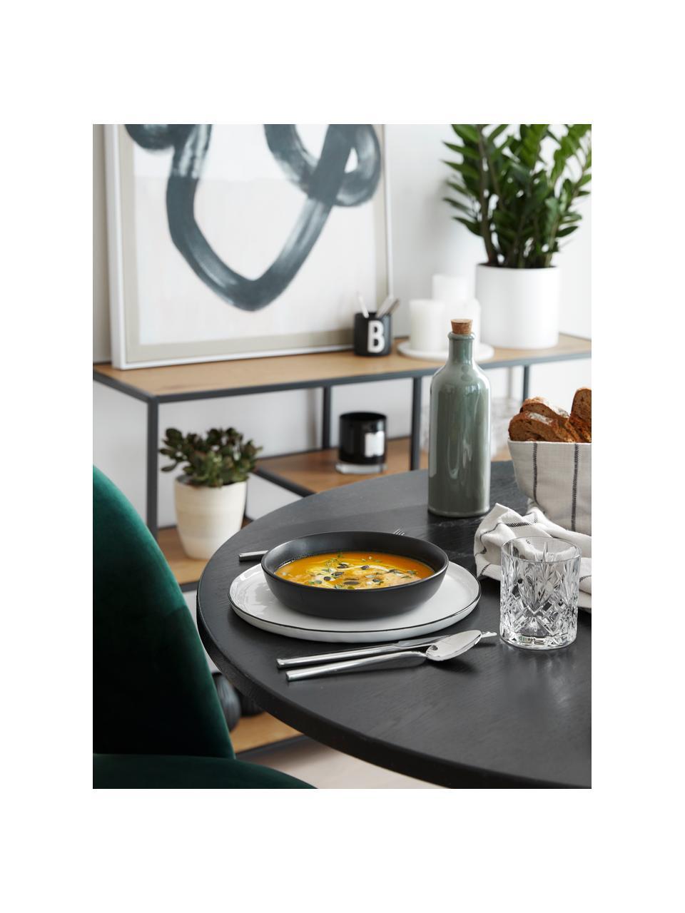 Serveerschaal Nordic Kitchen in mat zwart Ø 20 cm, 4 stuks, Keramiek, Mat zwart, Ø 20 cm
