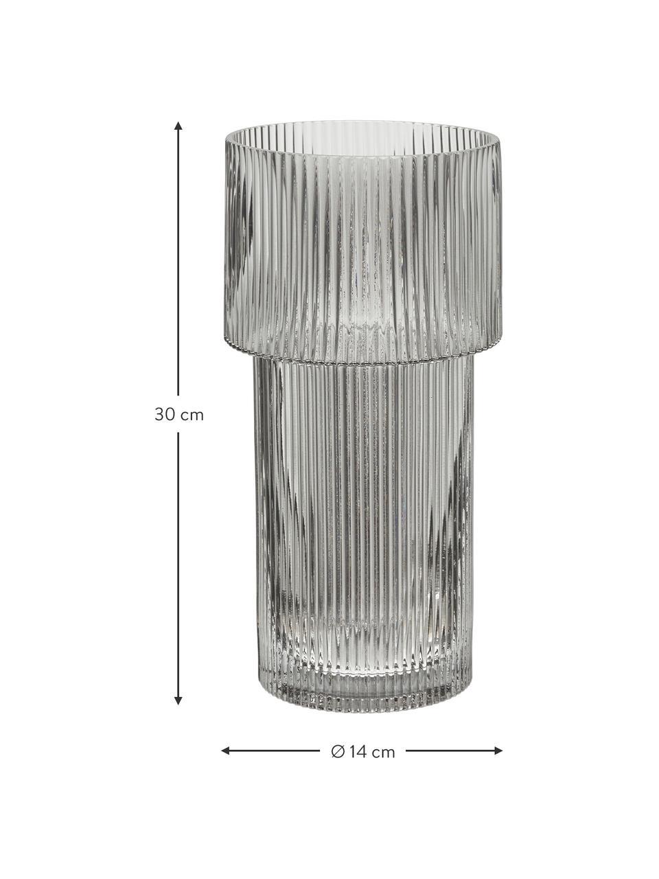 Glas-Vase Lija, Glas, Grau, transparent, Ø 14 x H 30 cm