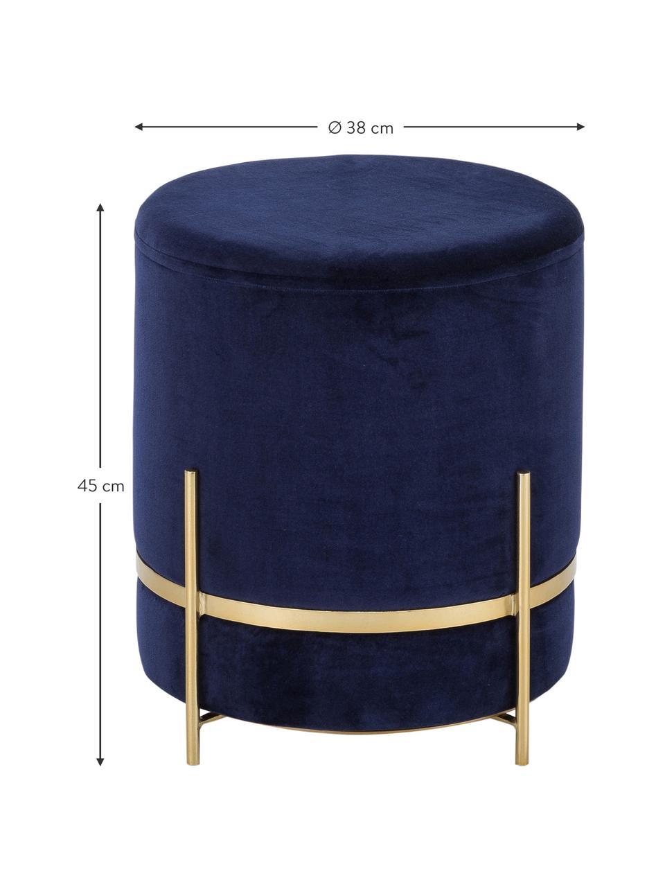 Fluwelen poef Elva, Bekleding: katoenfluweel, Voet: gepoedercoat metaal, Marineblauw, goudkleurig, ∅ 38 x H 45 cm