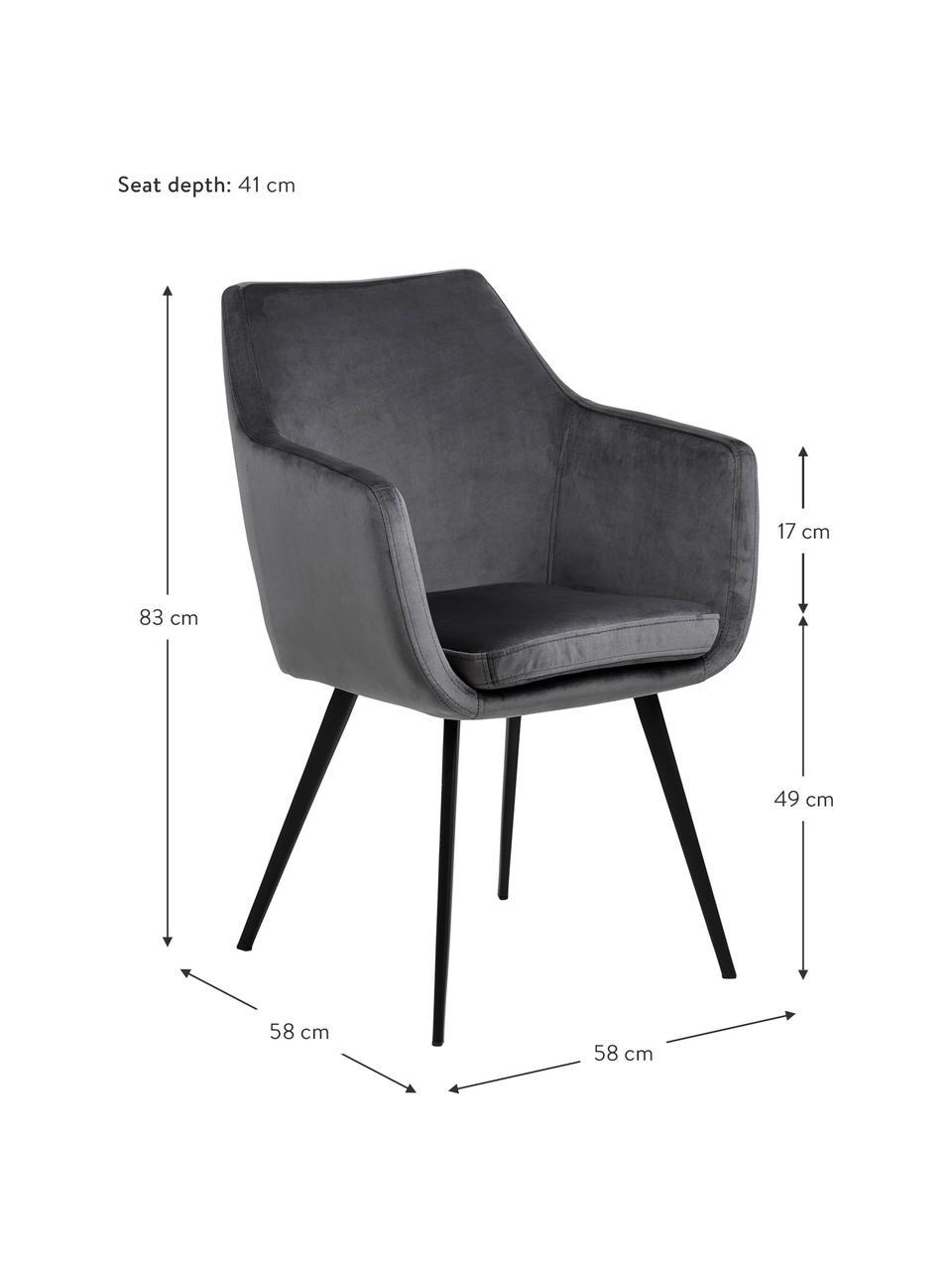 Krzesło z podłokietnikami z aksamitu Nora, Tapicerka: aksamit poliestrowy Dzięk, Nogi: metal powlekany, Ciemny szary, czarny, S 58 x G 58 cm