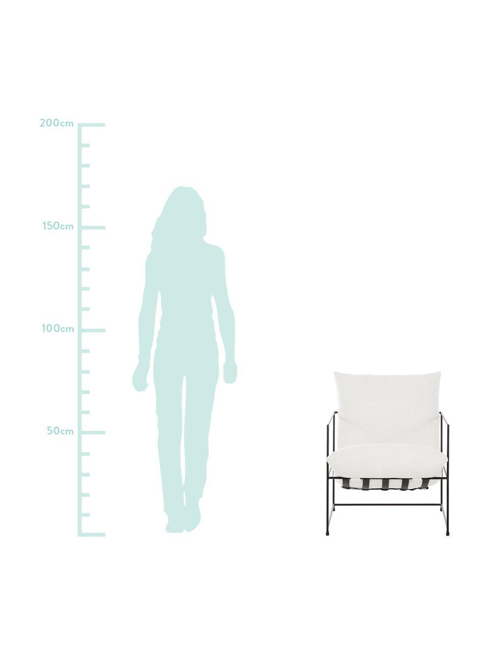 Sedia a poltrona con struttura in metallo Wayne, Rivestimento: 80% poliestere, 20% coton, Struttura: metallo verniciato a polv, Tessuto bianco, Larg. 69 x Prof. 74 cm