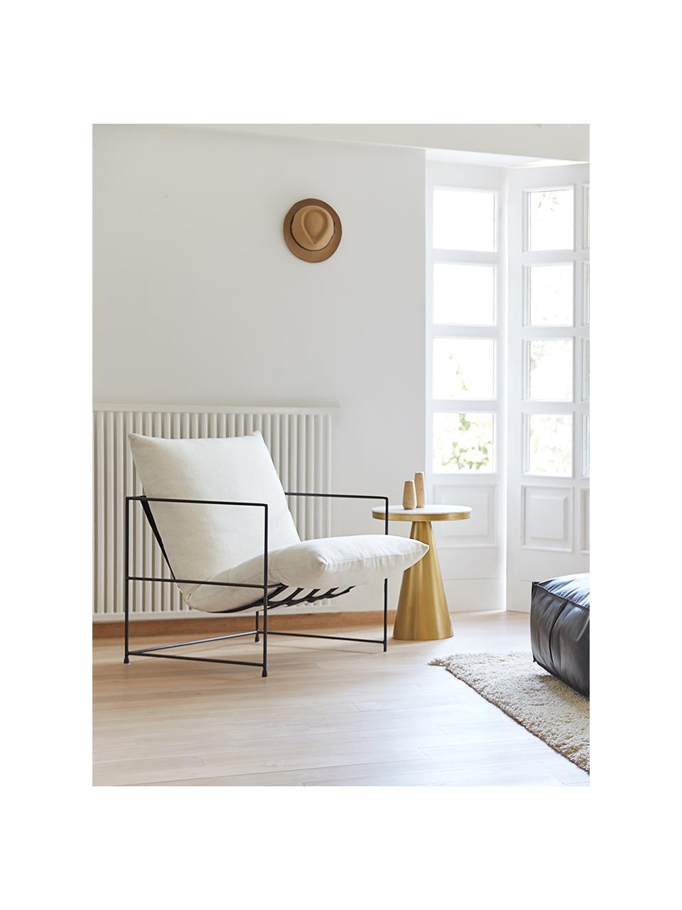 Fotel tapicerowany z metalowym stelażem Wayne, Tapicerka: 80% poliester, 20% len Ta, Biały, S 69 x G 74 cm