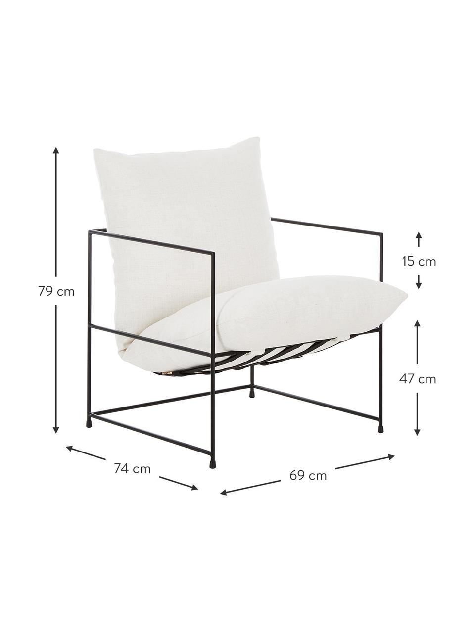 Gestoffeerde fauteuil Wayne met metalen frame, Bekleding: 80 % polyester, 20 % kato, Frame: gepoedercoat metaal, Geweven stof wit, B 69 x D 74 cm