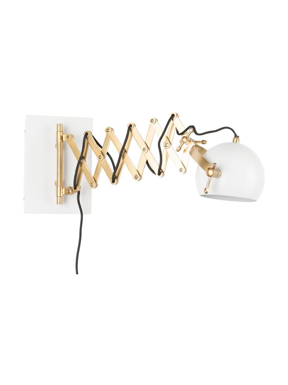 Wandleuchte Sarana mit Stecker, Lampenschirm: Metall, pulverbeschichtet, Gestell: Metall, Messingfarben, Weiß, B 17 x T 36 bis 64 cm