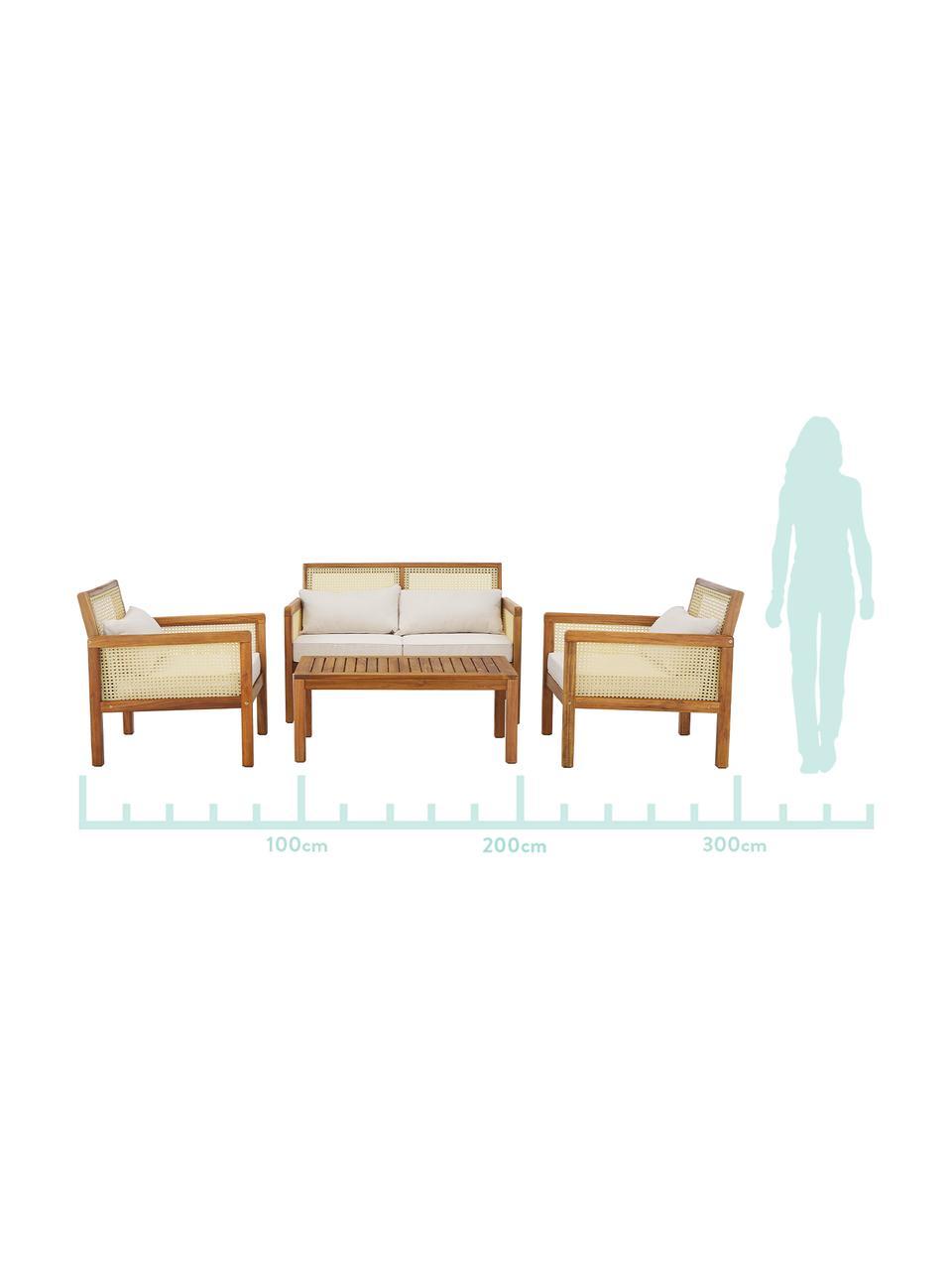 Tuin loungeset Vie met Weens vlechtwerk, 4-delig, Beige, Set met verschillende formaten