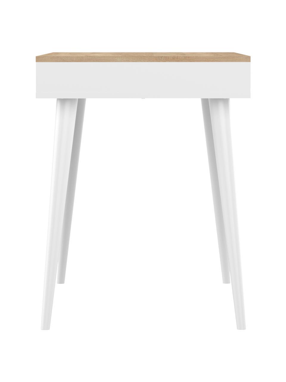 Schreibtisch Horizon in Weiß mit Eichenholz-Optik, Tischplatte: Spanplatte, melaminbeschi, Korpus: Spanplatte, lackiert, Beine: Buchenholz, massiv, lacki, Griffe: Kuhleder, Eichenholz, Weiß, B 134 x T 59 cm