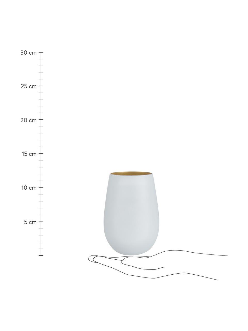 Kristall-Longdrinkgläser Elements in Weiß/Gold, 6 Stück, Kristallglas, beschichtet, Weiß, Messingfarben, Ø 9 x H 12 cm