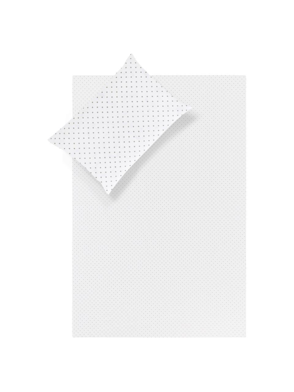 Set lenzuola in cotone Lilca, Cotone La parure copripiumino in cotone è piacevolmente morbida sulla pelle, assorbe bene l'umidità ed è adatta per chi soffre di allergie., Grigio, bianco, 180 x 270 cm + 2 cuscini 50 x 80 cm