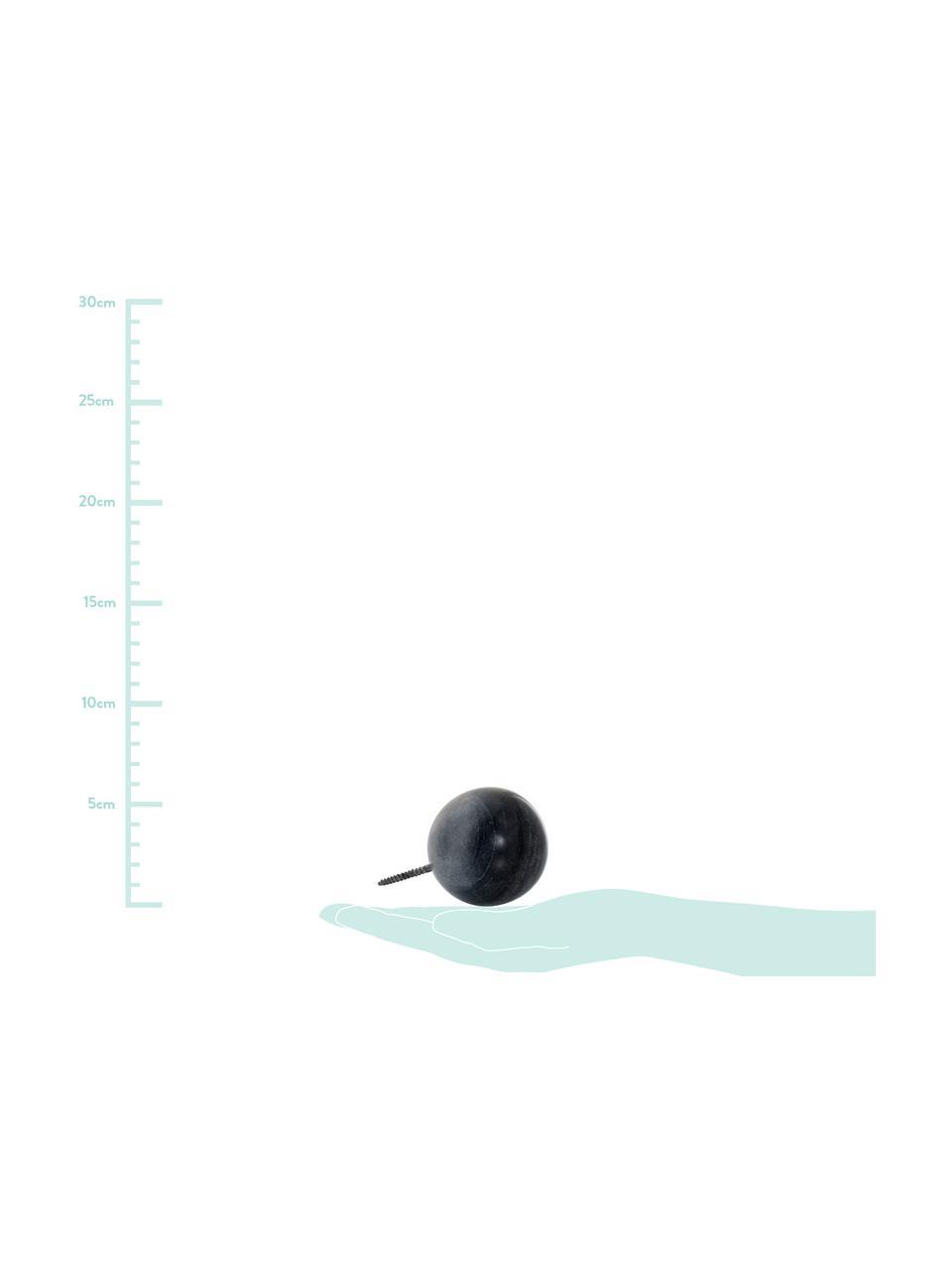 Marmor-Wandhaken Nari, Marmor, Schwarz, marmoriert, Ø 6 cm