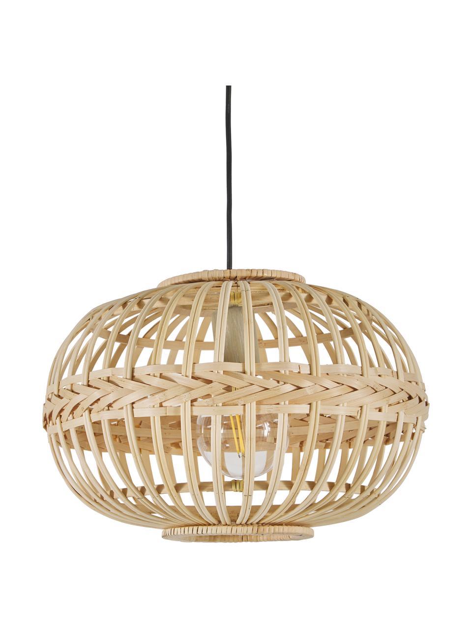 Lampa wisząca z drewna bambusowego Adam, Beżowy, Ø 38 cm x W 27 cm