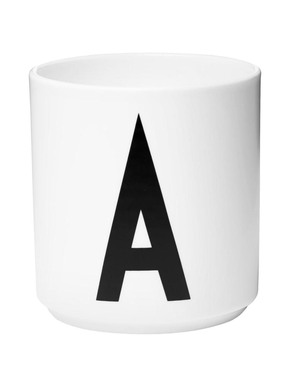 Design Becher Personal mit Buchstaben (Varianten von A bis Z), Fine Bone China (Porzellan) Fine Bone China ist ein Weichporzellan, das sich besonders durch seinen strahlenden, durchscheinenden Glanz auszeichnet., Weiß, Schwarz, Becher A