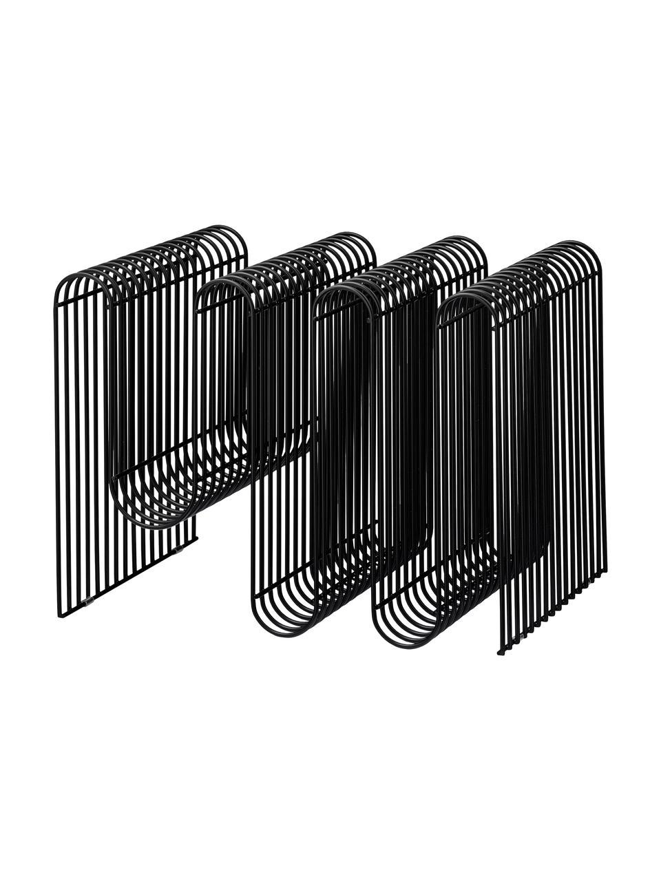 Zeitschriftenhalter Curve, Eisen, beschichtet, Schwarz, 41 x 30 cm