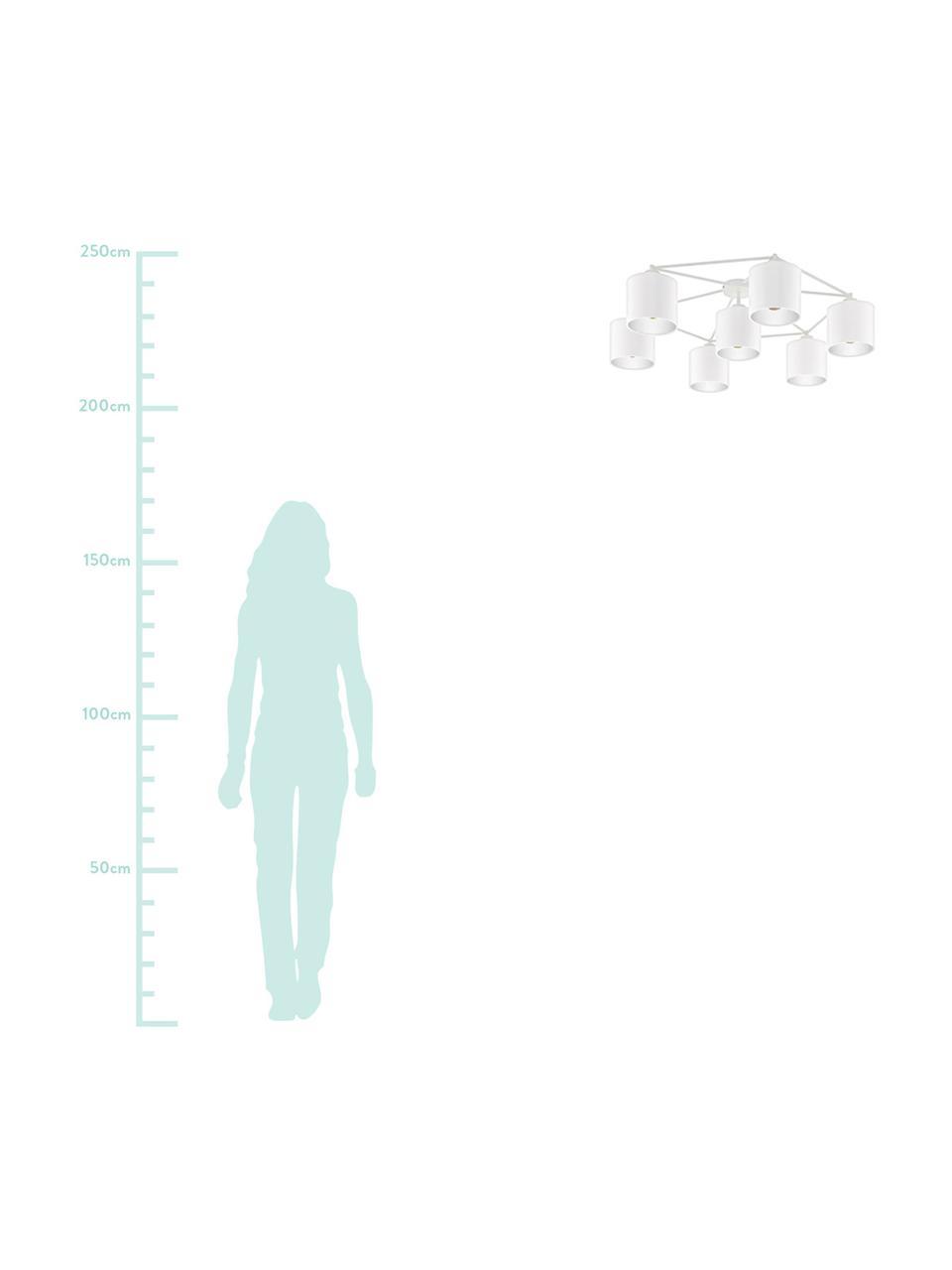 Große Deckenleuchte Staiti in Weiß, Baldachin: Stahl, lackiert, Weiß, Ø 84 x H 24 cm
