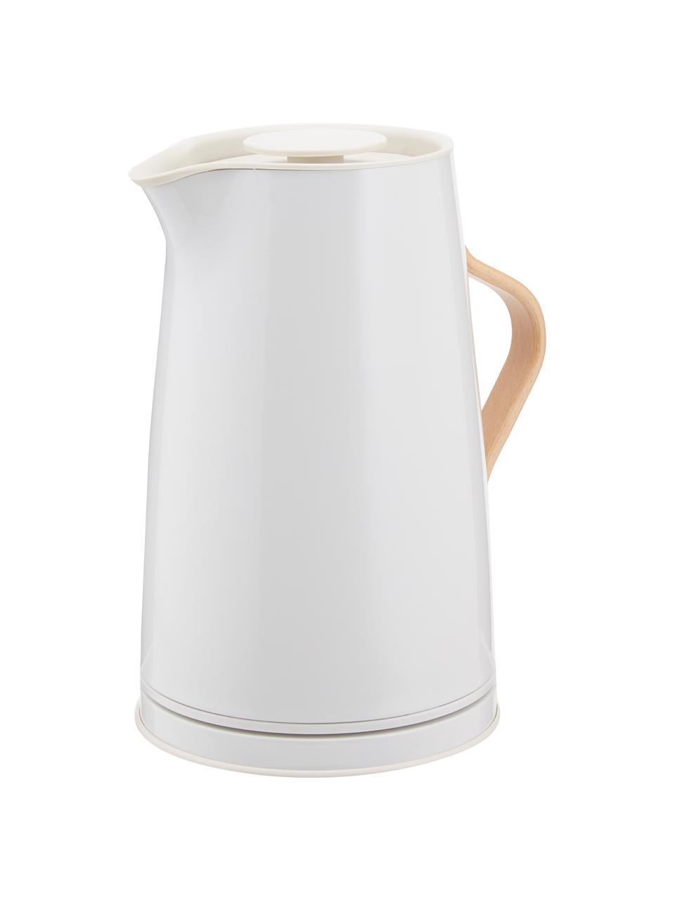 Wasserkocher Emma in Kalkweiß glänzend, Korpus: Edelstahl, Beschichtung: Emaille, Griff: Buchenholz, Kalkweiß, 1.2 L