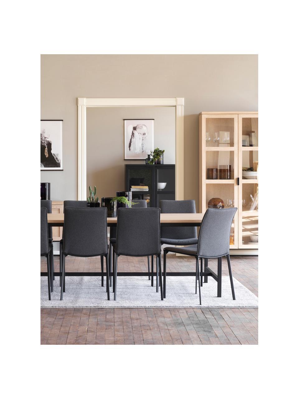 Glasvitrine Everett mit Eichenholz-Rahmen, Korpus: Eichenholz, massiv, klar , Gestell: Metall, lackiert, Eichenholz, weißgewaschen, 95 x 195 cm