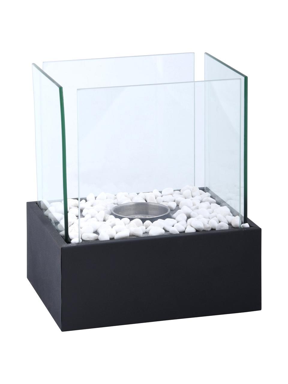 Bioethanol-Tischkamin Damin, Sockel: Metall, beschichtet, Schwarz, Transparent, 25 x 28 cm