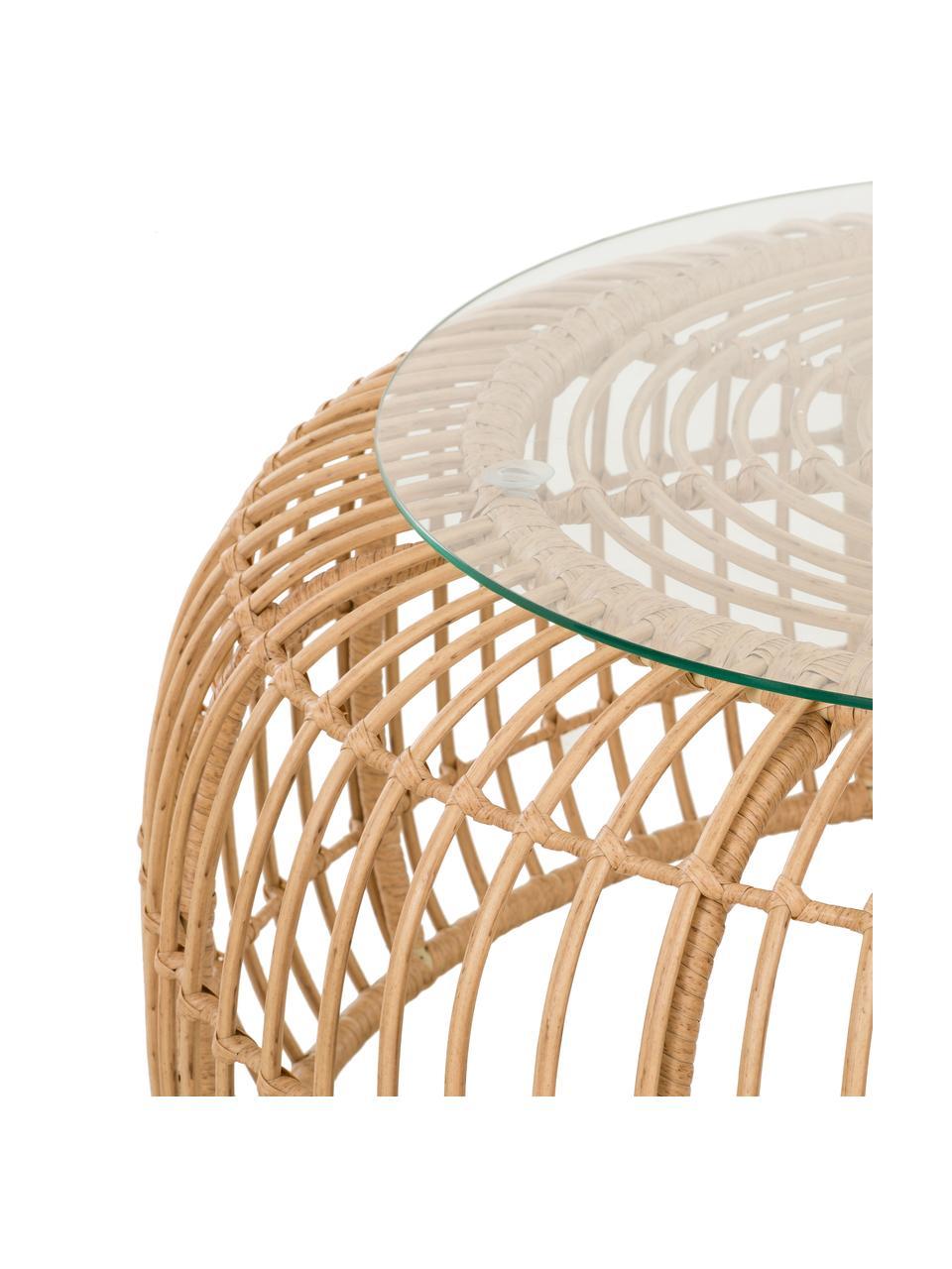 Stolik kawowy z polirattanu Costa, Blat: szkło, Stelaż: splot polietylenowy, Jasny brązowy, Ø 85 x W 42 cm