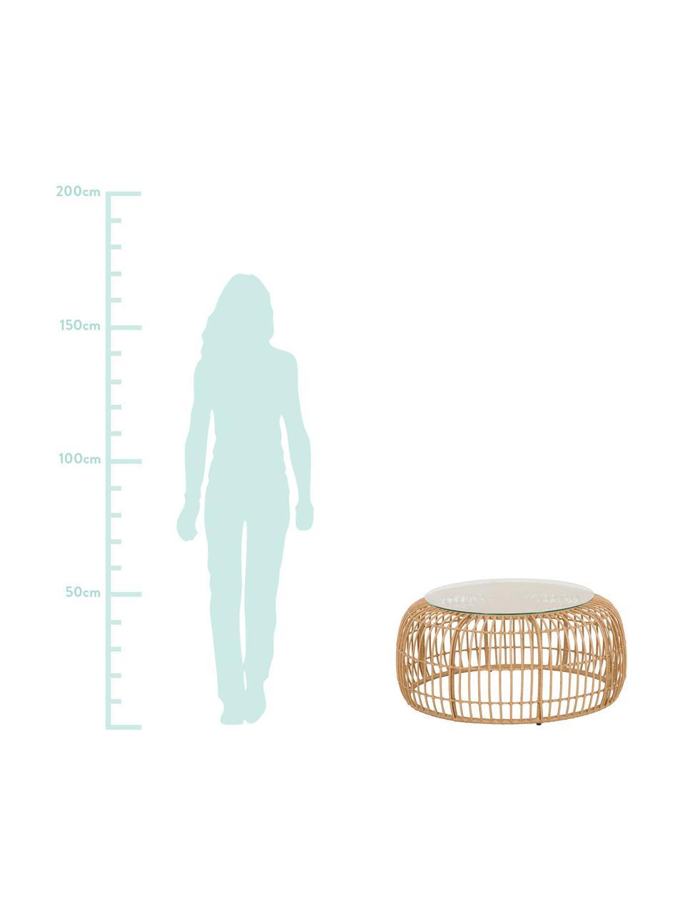 Ogrodowy stolik kawowy z polirattanu Costa, Blat: szkło, Stelaż: plecionka polietylenowa, Jasny brązowy, Ø 85 x W 42 cm