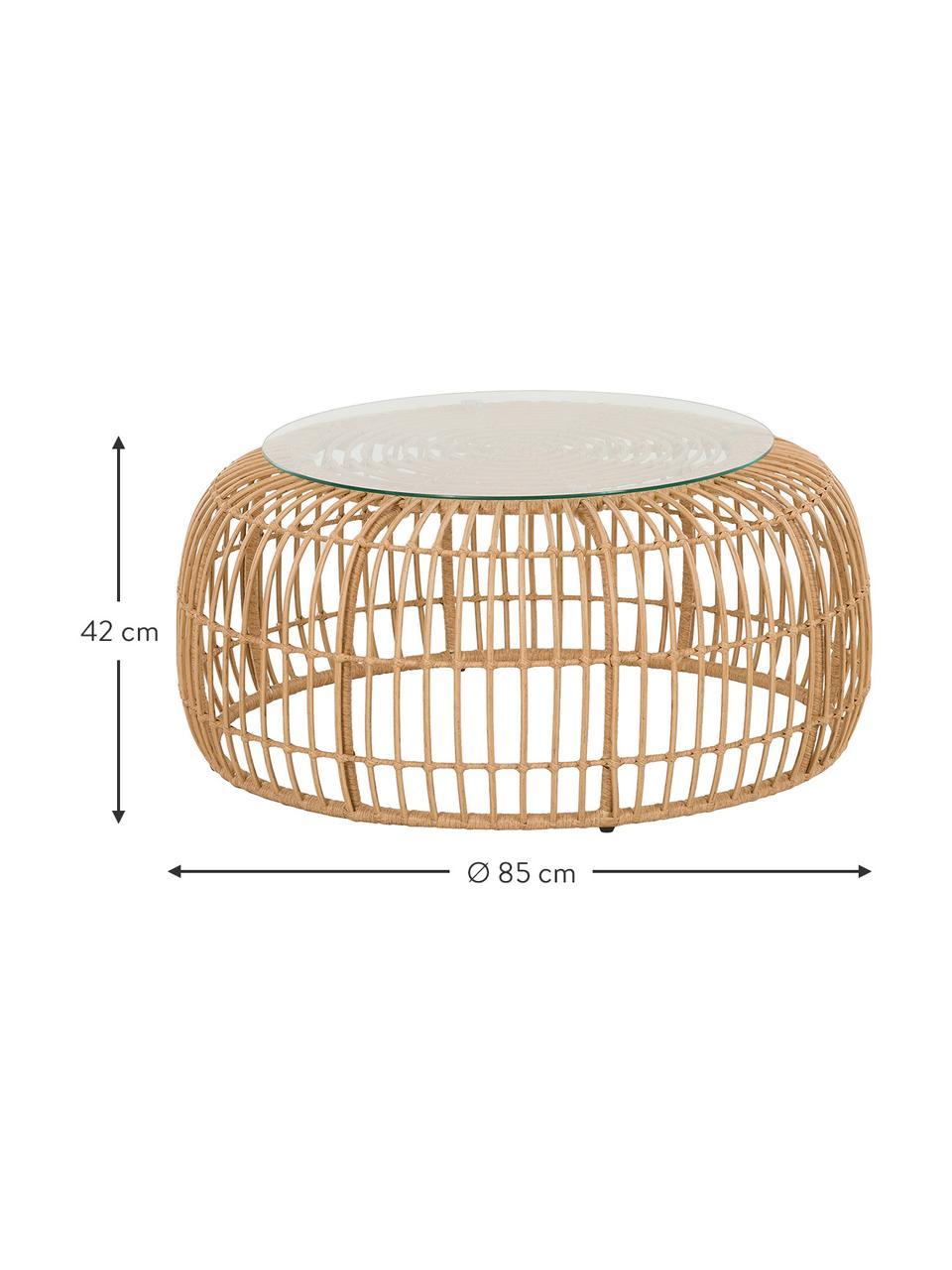 Tavolino da salotto intrecciato Costa, Struttura: intreccio in polietilene, Marrone chiaro, Ø 85 x Alt. 42 cm