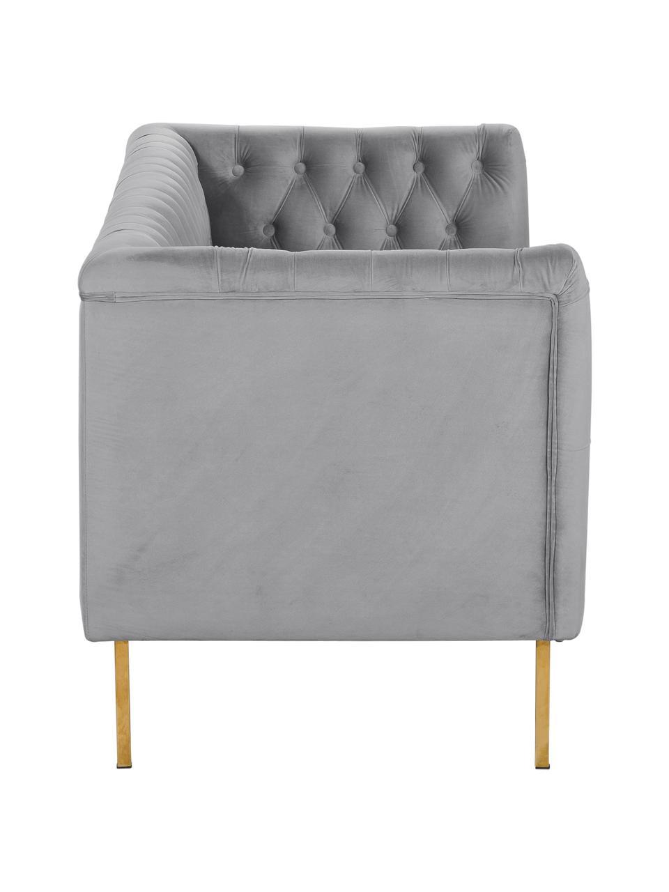 Fluwelen Chesterfield bank Chiara (2-zits) in grijs, Bekleding: fluweel (polyester), Frame: massief berkenhout, Poten: gegalvaniseerd metaal, Fluweel grijs, B 170 x D 72 cm