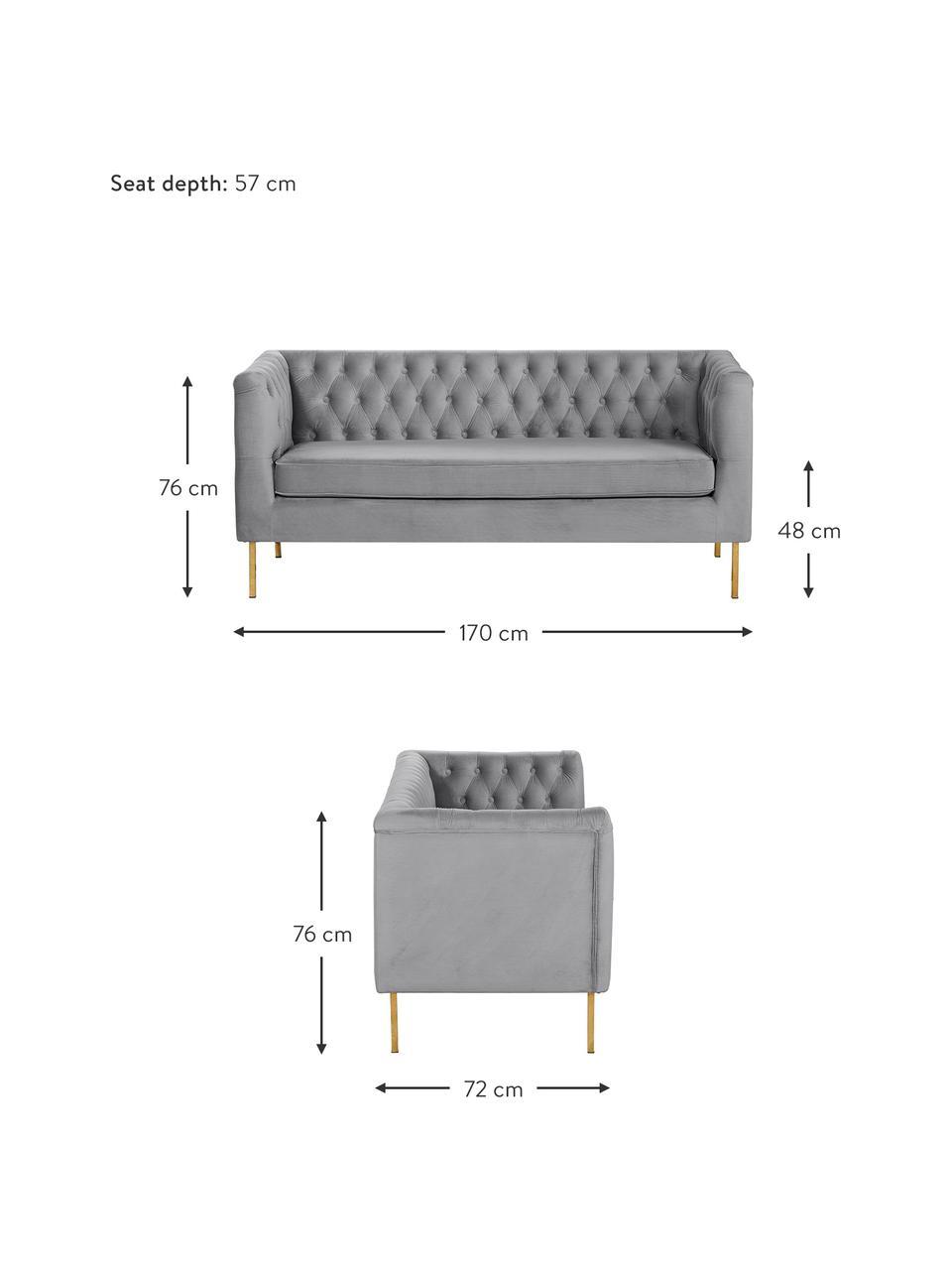 Chesterfield-Samt-Sofa Chiara (2-Sitzer) in Grau, Bezug: Samt (Polyester) Der hoch, Gestell: Massives Birkenholz, Füße: Metall, galvanisiert, Samt Grau, B 170 x T 72 cm