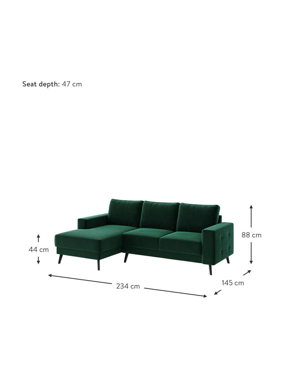 Sofa narożna z aksamitu Fynn, Tapicerka: 100% aksamit poliestrowy, Stelaż: drewno liściaste, drewno , Nogi: drewno lakierowane Dzięki, Ciemny zielony, S 234 x G 145 cm