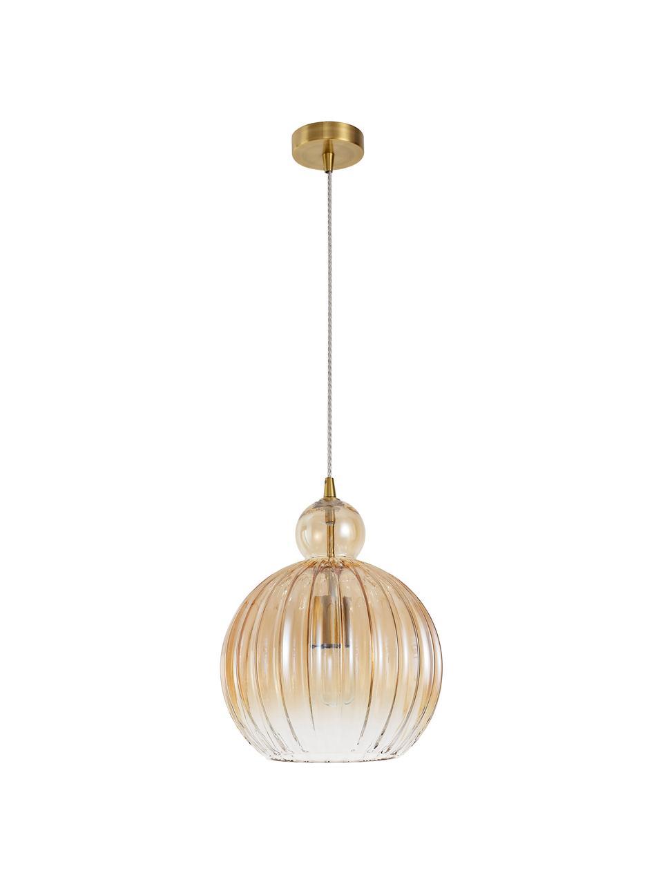 Kleine Pendelleuchte Odell aus getöntem Glas, Lampenschirm: Glas, Baldachin: Metall, Messingfarben, Bernsteinfarben, Ø 28 x H 36 cm