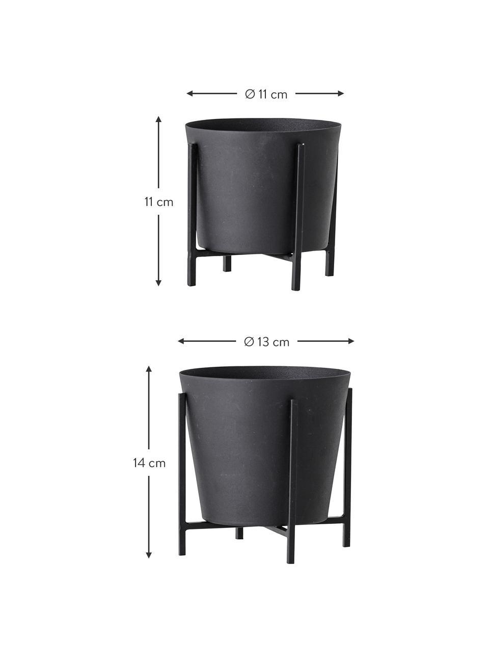 Komplet osłonek na doniczkę Kuma, 2 elem., Metal, Czarny, Komplet z różnymi rozmiarami