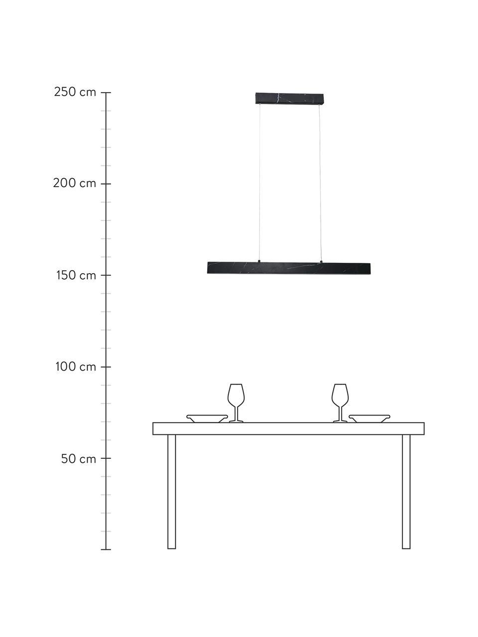 Lampa wisząca LED z imitacją marmuru Pierce, Czarny, marmurowy, S 90 x W 10 cm