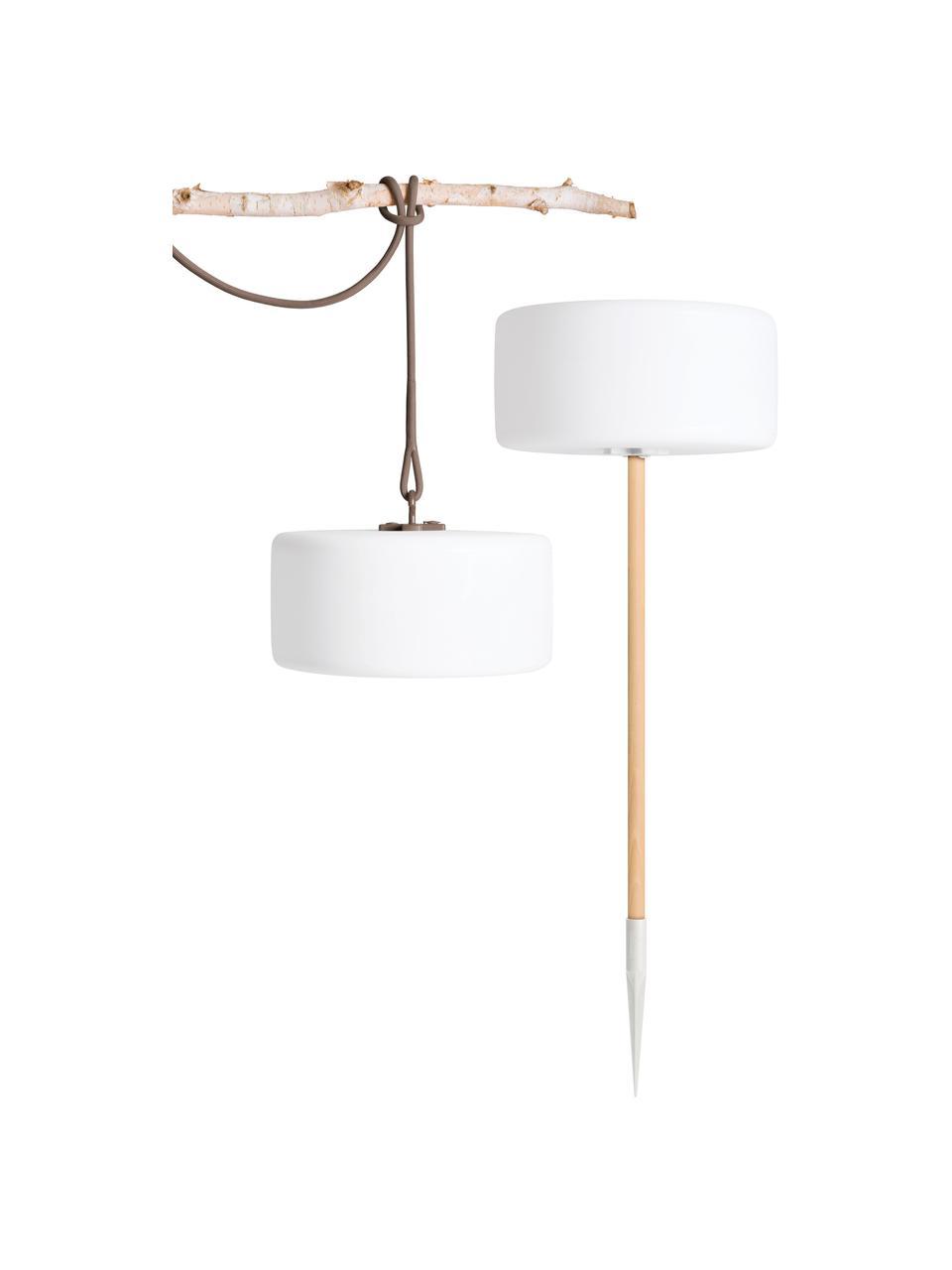 Mobile Außenleuchte Thierry zum Stecken oder Hängen, Lampenschirm: Kunststoff, Weiß, Taupe, Ø 41 x H 21 cm