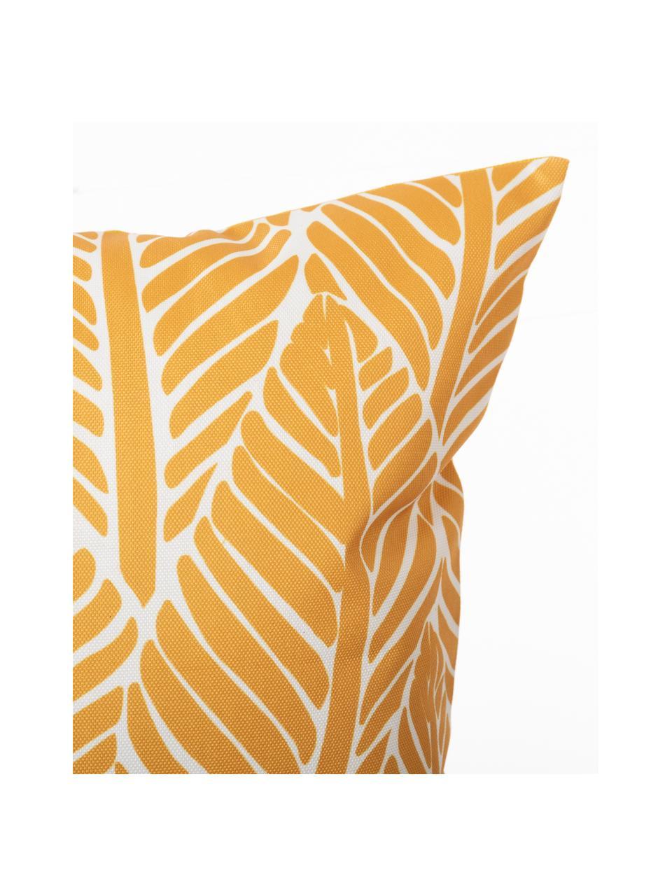 Outdoor-Kissen Sanka mit Blättermotiv, mit Inlett, 100% Polyester, Gelb, 45 x 45 cm