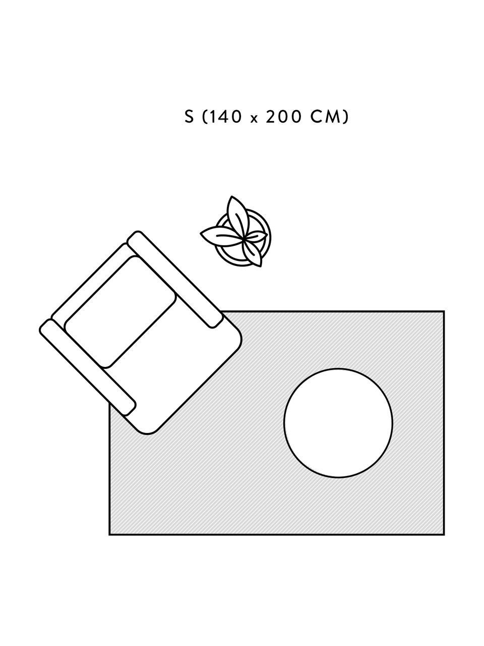 Handgefertigter Wendeteppich Duetto in Creme/Beige mit Muster, waschbar, Flor: 97% Baumwolle, 3% andere , Beige, B 140 x L 200 cm (Größe S)