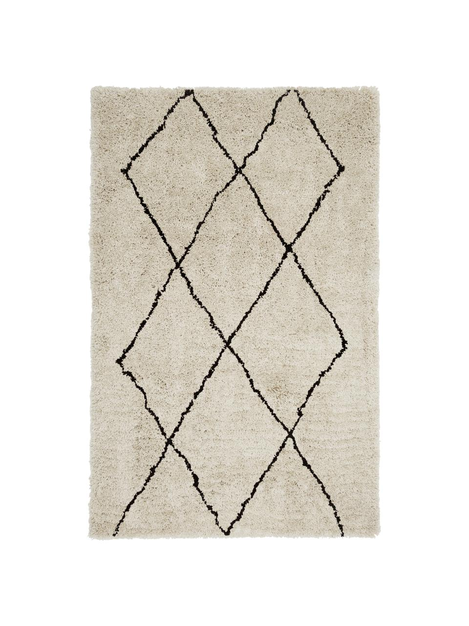 Flauschiger Hochflor-Teppich Nouria, handgetuftet, Flor: 100% Polyester, Beige, Schwarz, B 200 x L 300 cm (Größe L)