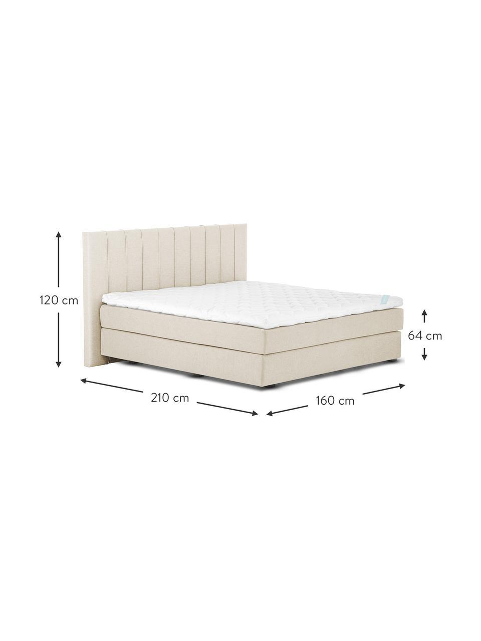 Łóżko kontynentalne premium Lacey, Nogi: lite drewno bukowe, lakie, Beżowy, S 200 x D 200 cm