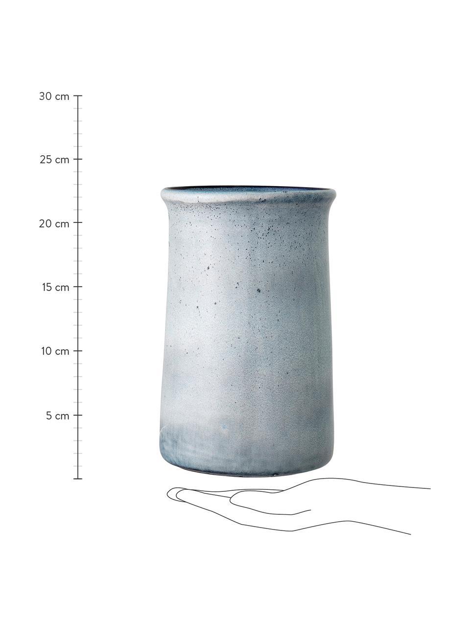 Refrigeratore bottiglie in gres blu fatto a mano Sandrine, Gres, Tonalità blu, Ø 15 x Alt. 23 cm