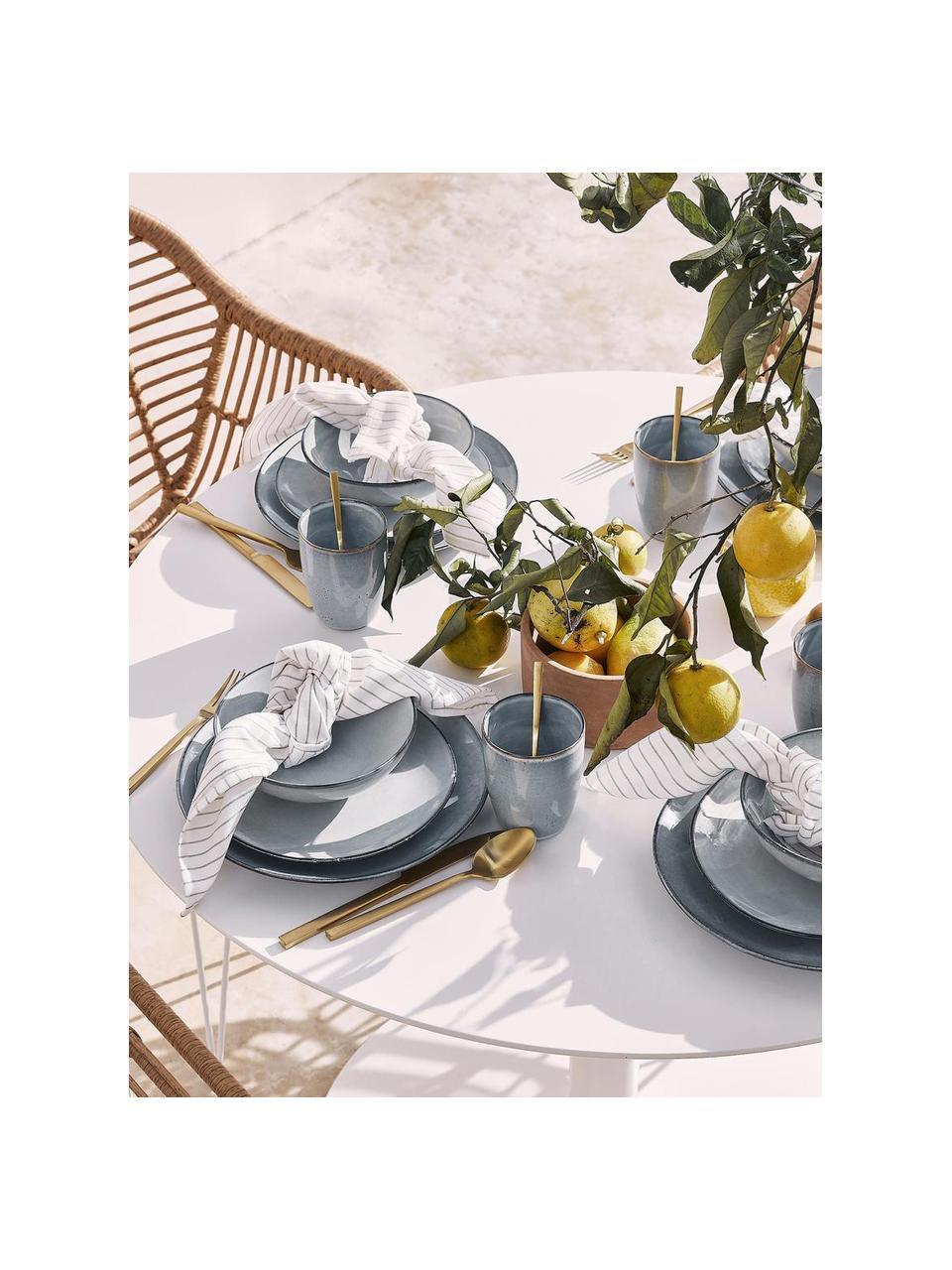 Set van 2 handgemaakte keramische ontbijtborden Thalia in blauwgrijs, Keramiek, Blauwgrijs, Ø 22 cm