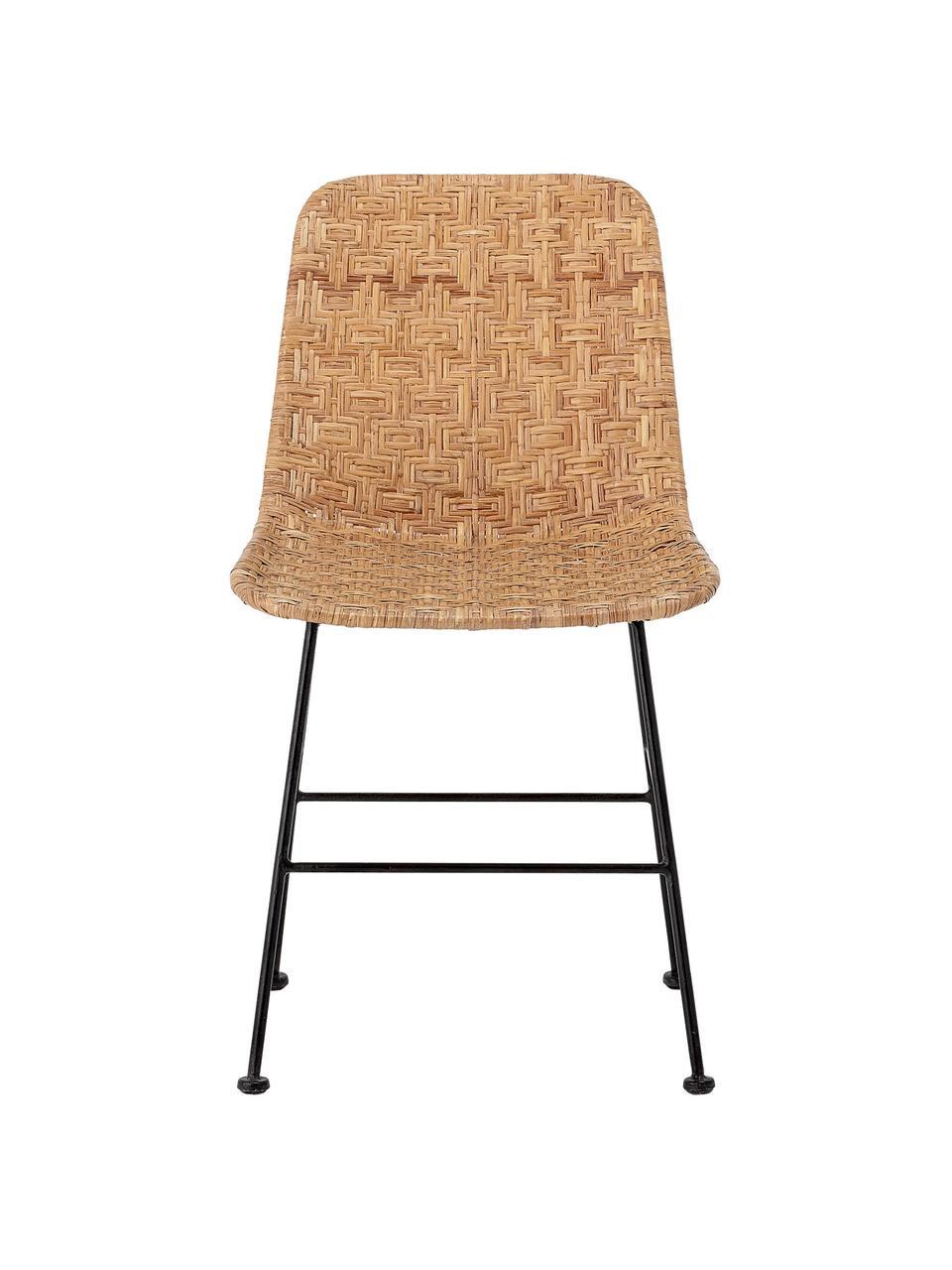 Rattan-Stuhl Kitty in Beige, Sitzfläche: Rattan, Beine: Metall, beschichtet, Beige, B 55 x T 44 cm