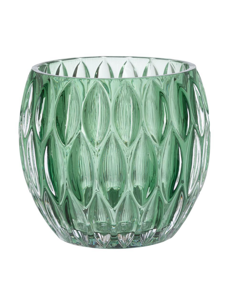 Komplet świeczników na podgrzewacze Aliza, 3 elem., Szkło, Zielony, transparentny, Ø 10 x W 9 cm