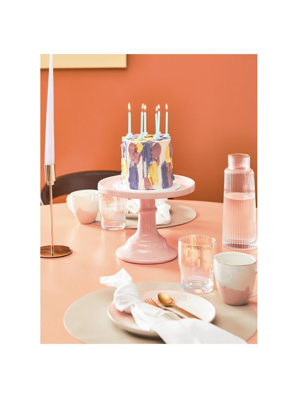 Handgefertigte Wasserkaraffe Minna mit Rillenrelief und Goldrand, Glas, mundgeblasen, Transparent, Gold, Ø 10 x H 25 cm