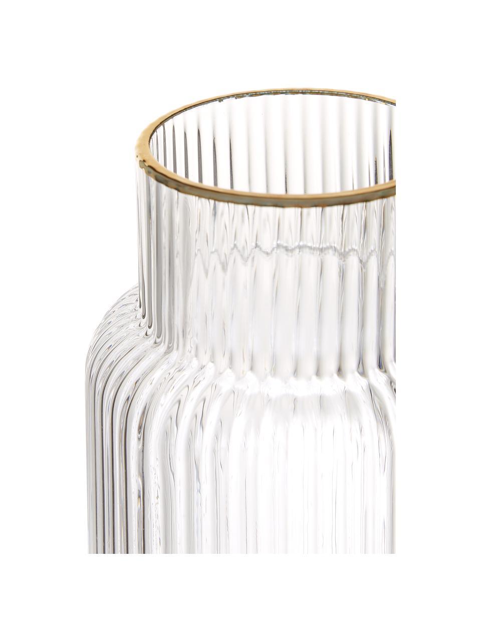 Ručně vyrobená karafa s rýhovaným reliéfem a zlatým okrajem Minna, Transparentní, zlatá