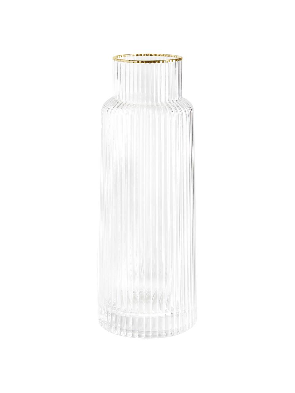 Carafe à eau artisanale à rebord doré Minna, Transparent, or