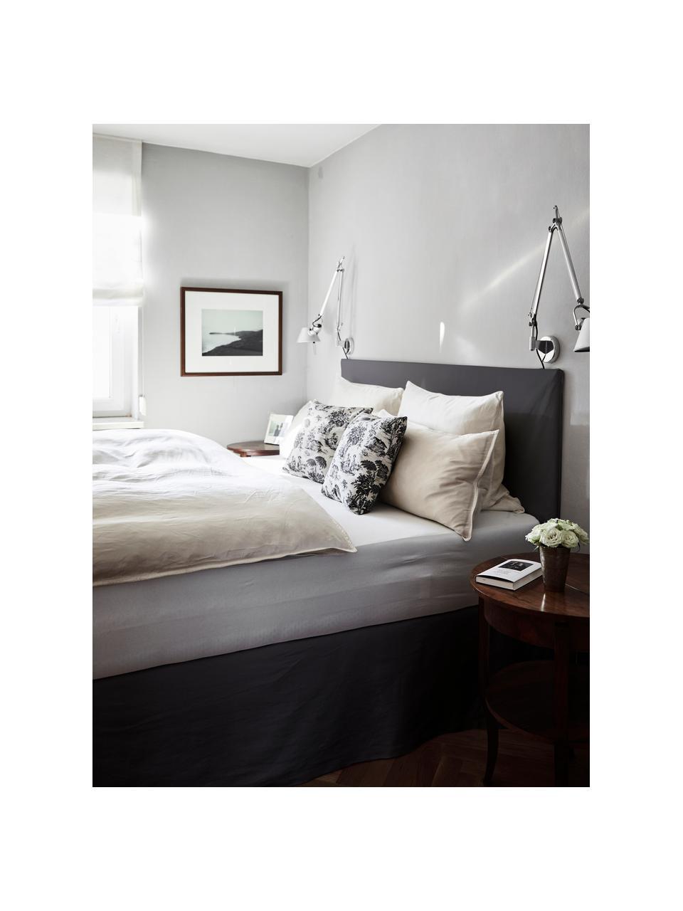 Łóżko tapicerowane z miejscem do przechowywania Feather, Korpus: lite drewno sosnowe i pły, Tapicerka: poliester (tkanina strukt, Antracytowy, S 180 x D 200 cm