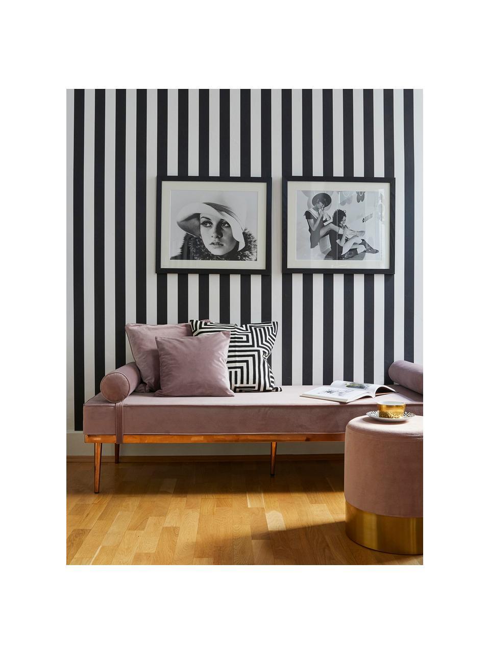 Chaise longue letto singolo in velluto rosa Aurora, Rivestimento: velluto (rivestimento in , Gambe: metallo rivestito, Velluto malva, Larg. 180 x Alt. 42 cm