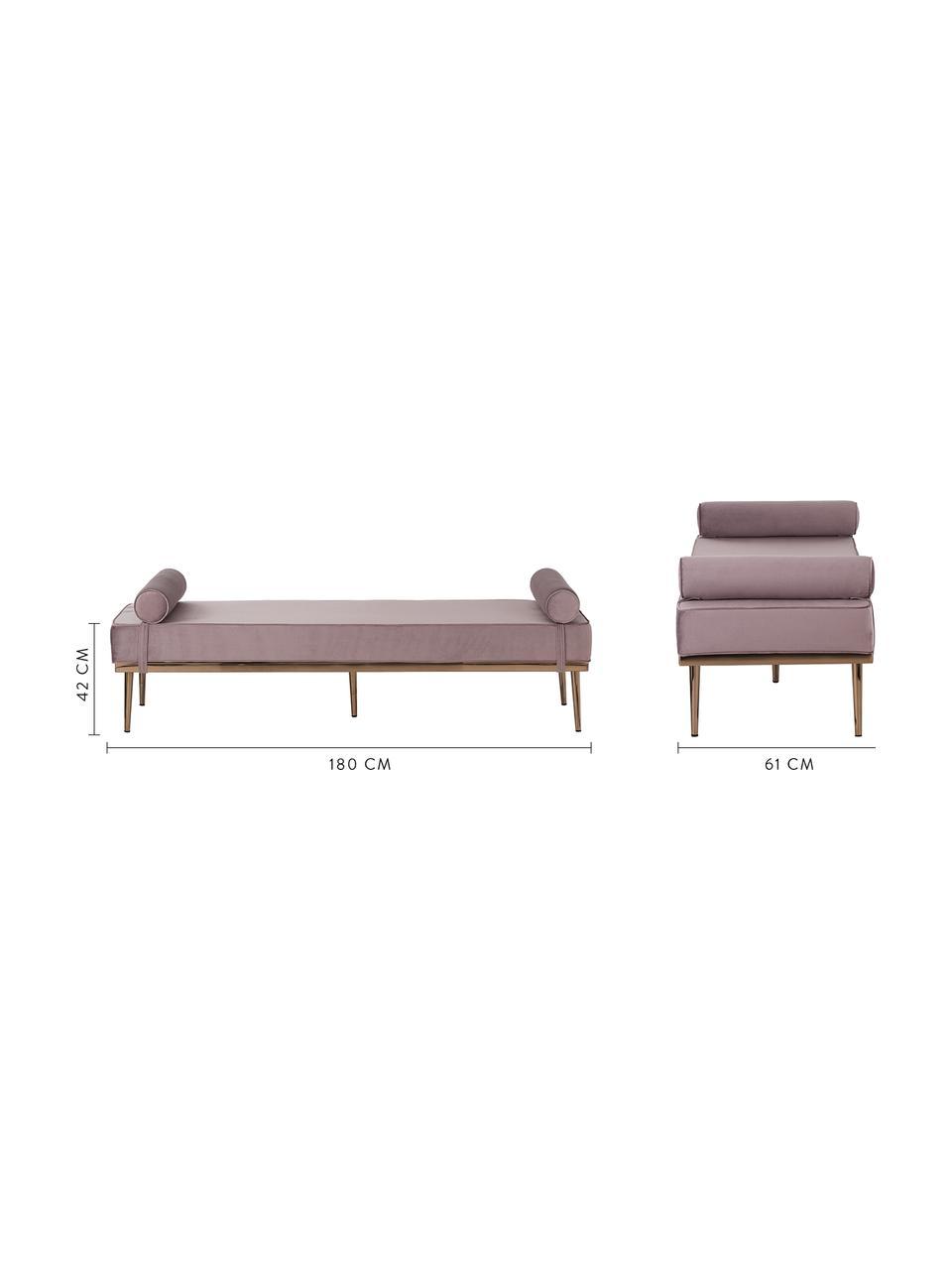 Łóżko dzienne z aksamitu z metalowymi nogami Aurora, Tapicerka: aksamit (wysokiej jakości, Nogi: metal powlekany, Aksamitny mauve, S 180 x W 42 cm