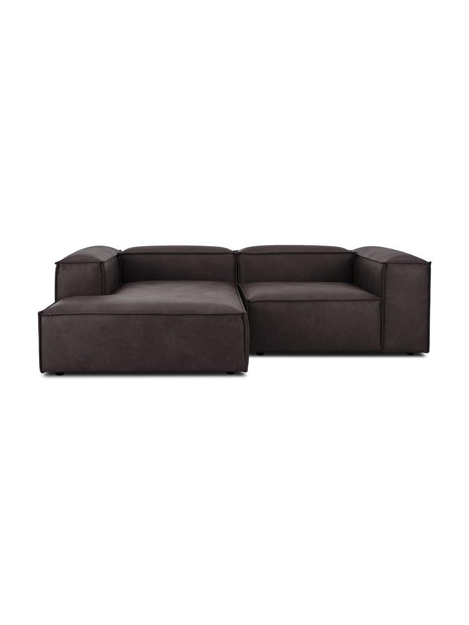 Narożna sofa modułowa ze skóry z recyklingu Lennon, Tapicerka: skóra pochodząca z recykl, Stelaż: lite drewno sosnowe, skle, Nogi: tworzywo sztuczne Nogi zn, Skórzany szarobrązowy, S 238 x G 180 cm