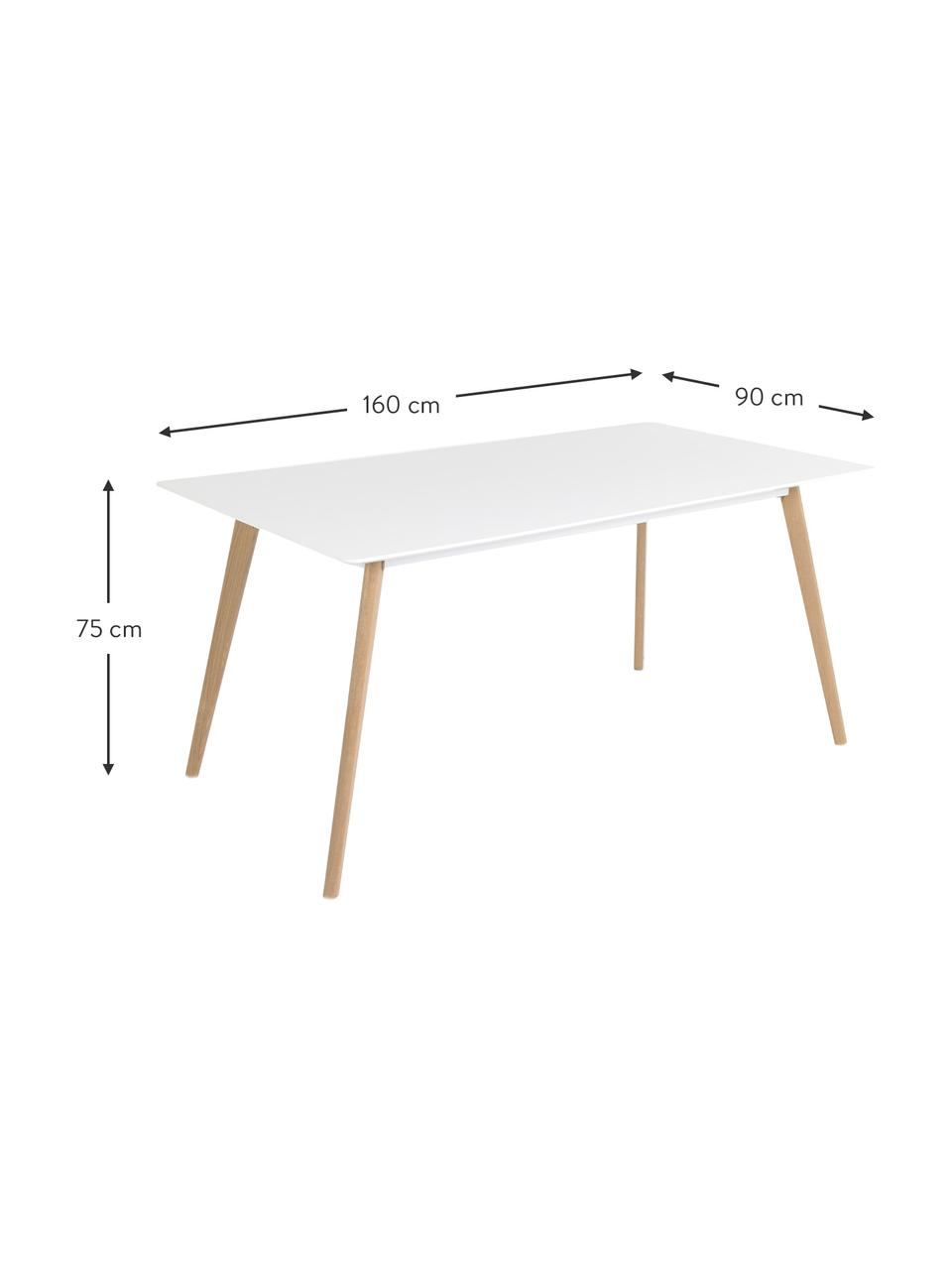 Esstisch Flamy im Skandi-Design, Tischplatte: Mitteldichte Holzfaserpla, Weiß, Eichenholz, B 160 x T 90 cm